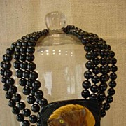 Assembled Vintage Bakelite Carved Wood Terrier Dog Onyx Necklace