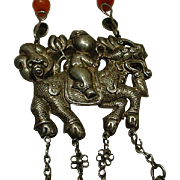 Sterling China Export Horse Pendant Necklace