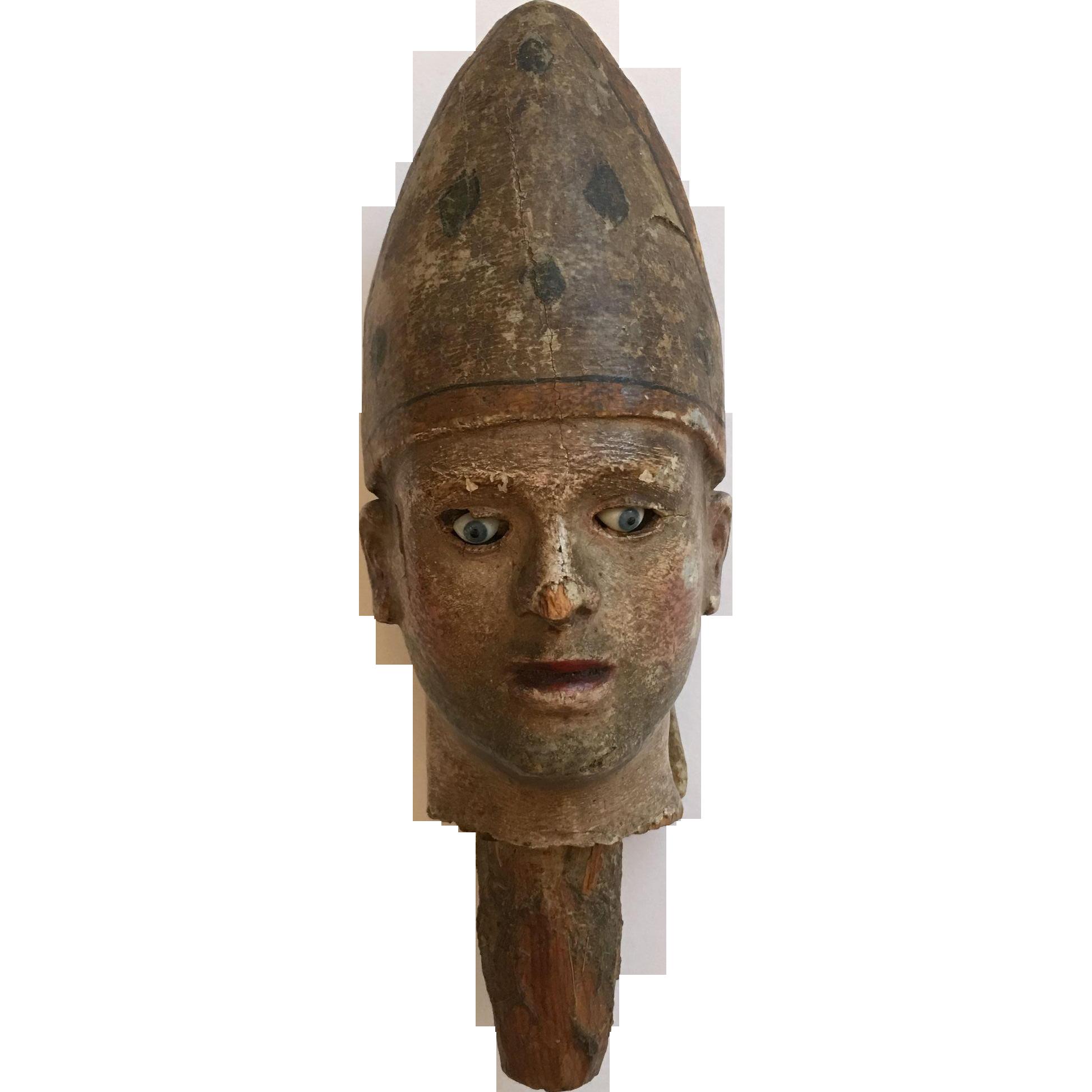 Antique Santos Bishop Head Figurine Glass Eyes