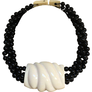 Signed Vintage Patricia Von MUSULIN Onyx Necklace