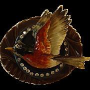 Assembled Sterling Vintage Bakelite Wood Flying Robin Bird Pin