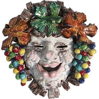 Tuscan Pottery Della Robbia style Bacchus Made Painted by hand in Italy