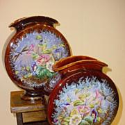Pair Stunning French Majolica Vases Belle Epoque