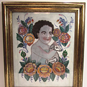 Antique Gold Gesso Frame with St. John the Baptist Santo Lamb Painting