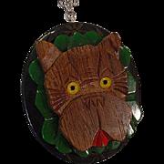 Assembled Sterling Vintage Bakelite Carved Wood Terrier Dog Necklace