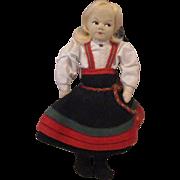 "7.5"" Cloth Ronnaug Petterssen Norwegian Doll All Original Blonde Mohair Wig 1950's"