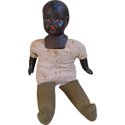 """Composition 20"""" Black Mama Doll 1930's Has Cloth Body Painted Features - Red Tag Sale Item"""