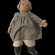 "18"" Folk Art Primitive Oil Cloth Doll 1987"