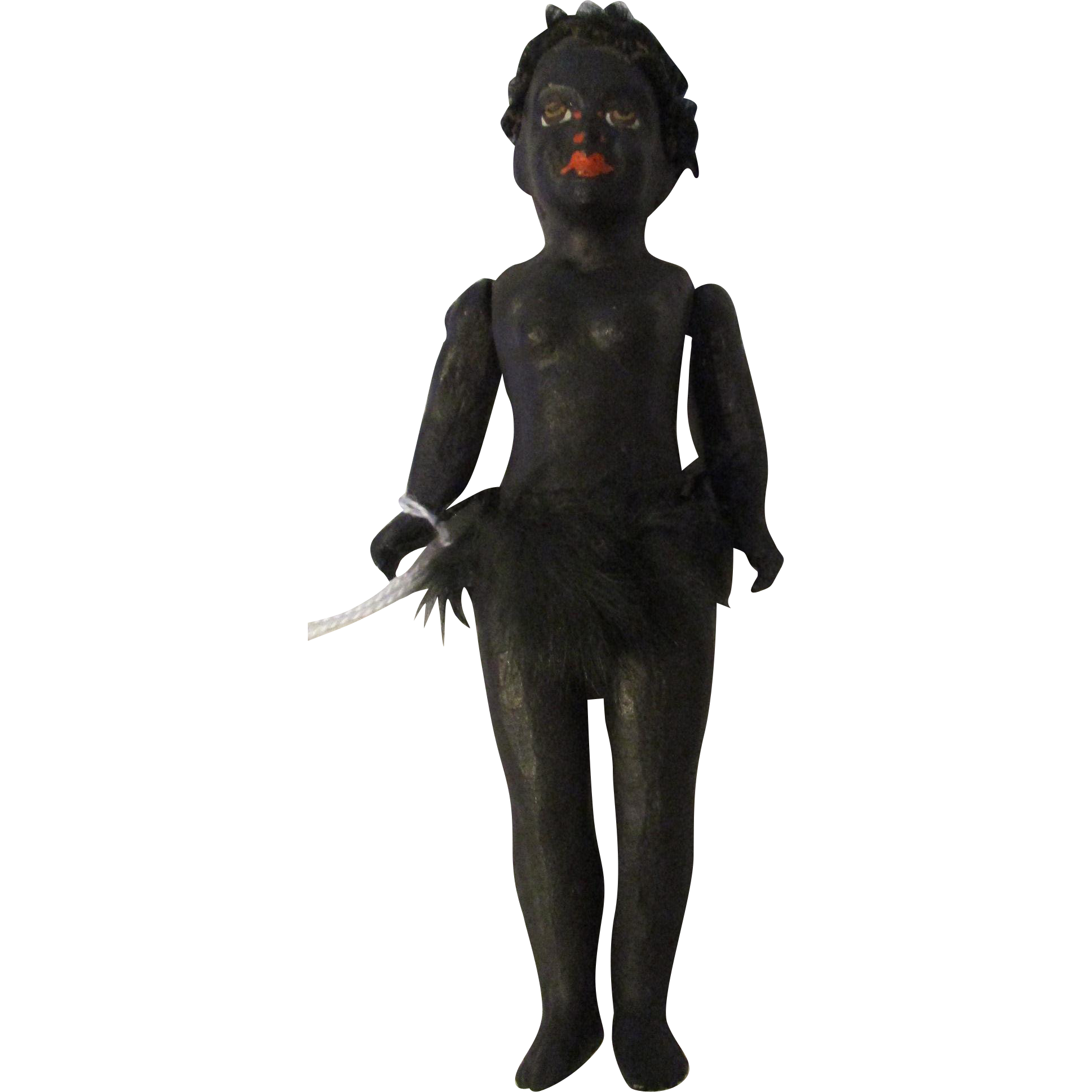 "7.25"" Black Paper Mache Native Jointed Doll"