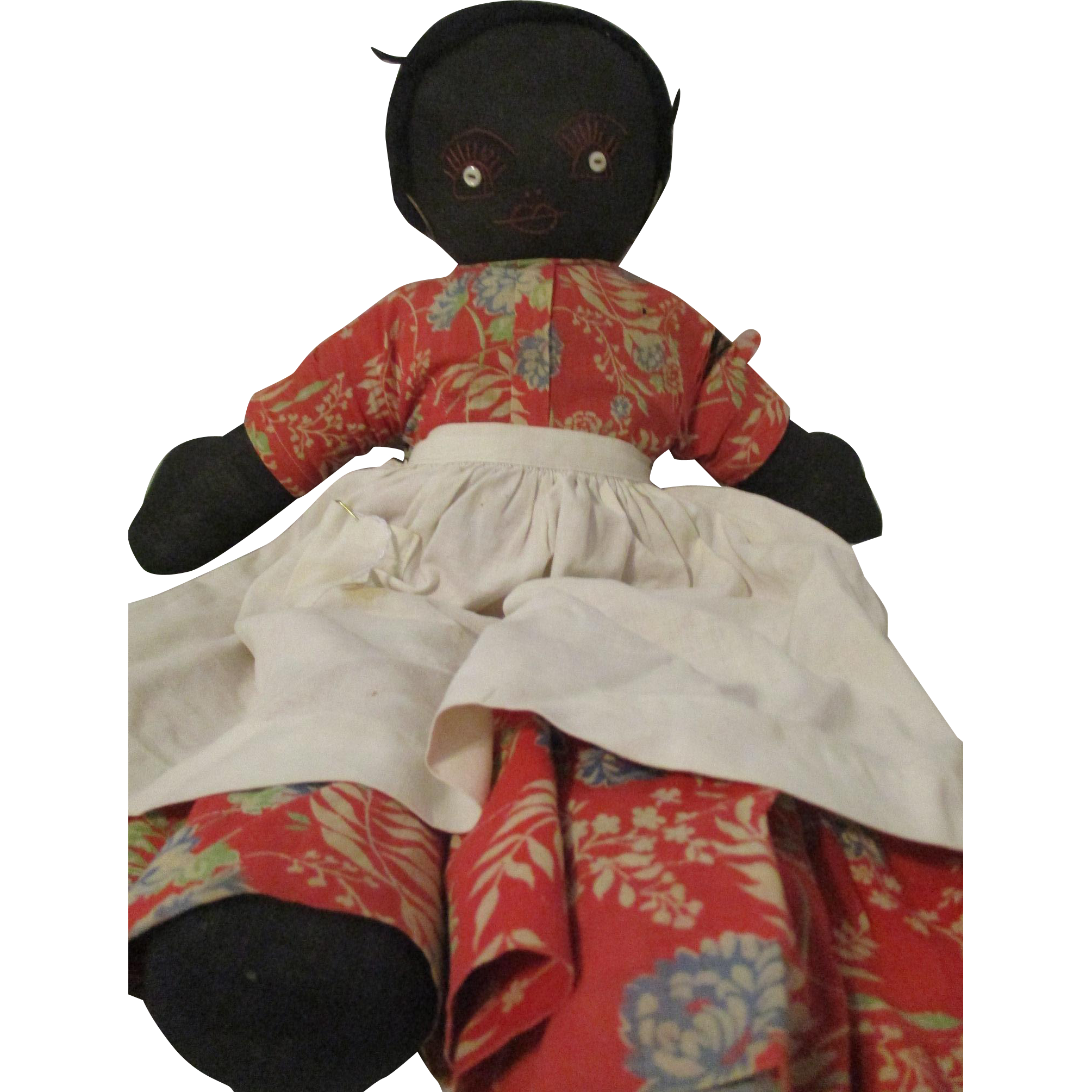 """Black Cloth Doll Embroidered Features 19.5"""""""