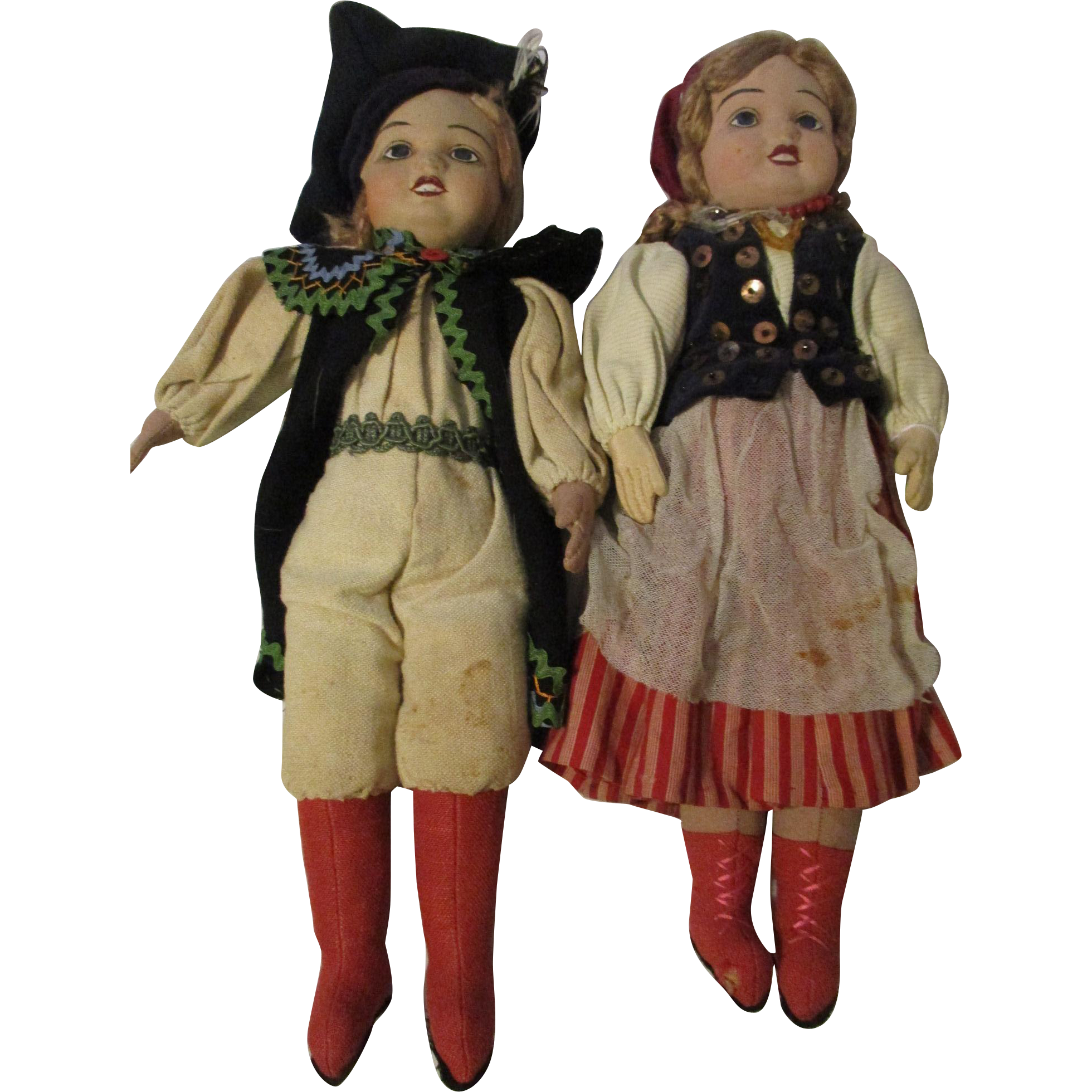 """16"""" Pair Molded Face Dolls Foreign Costumes"""