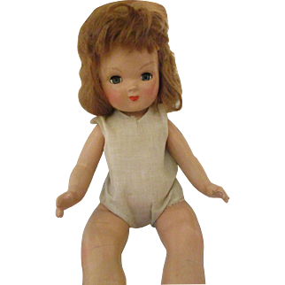 """17"""" Composition Doll Mohair Wig Center Snap Shoes"""