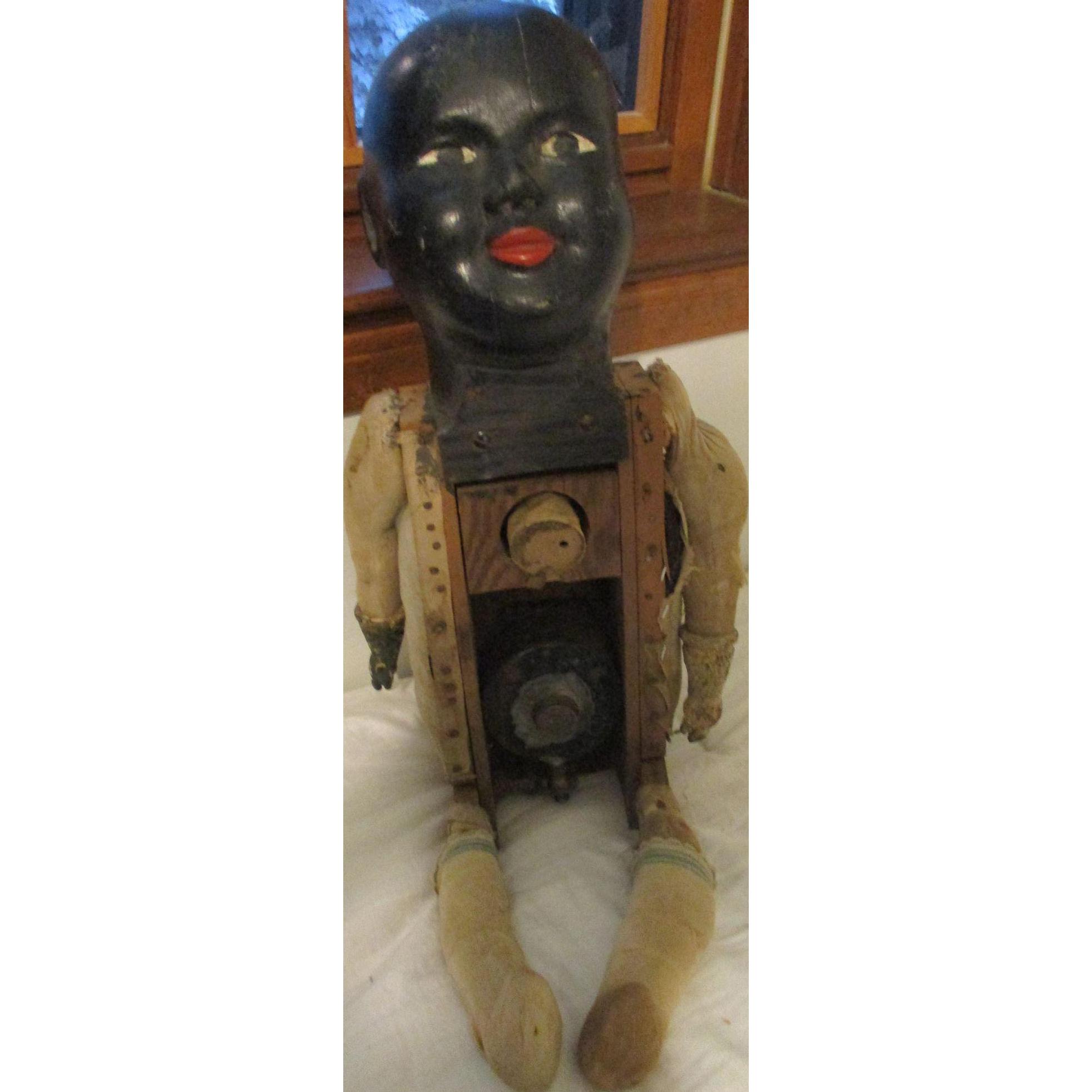 """28"""" Folk Art Early Black Wood Doll Wetter"""