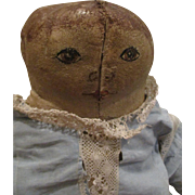 """Oil Painted Two Face Doll 22"""" Early Cloth Doll"""