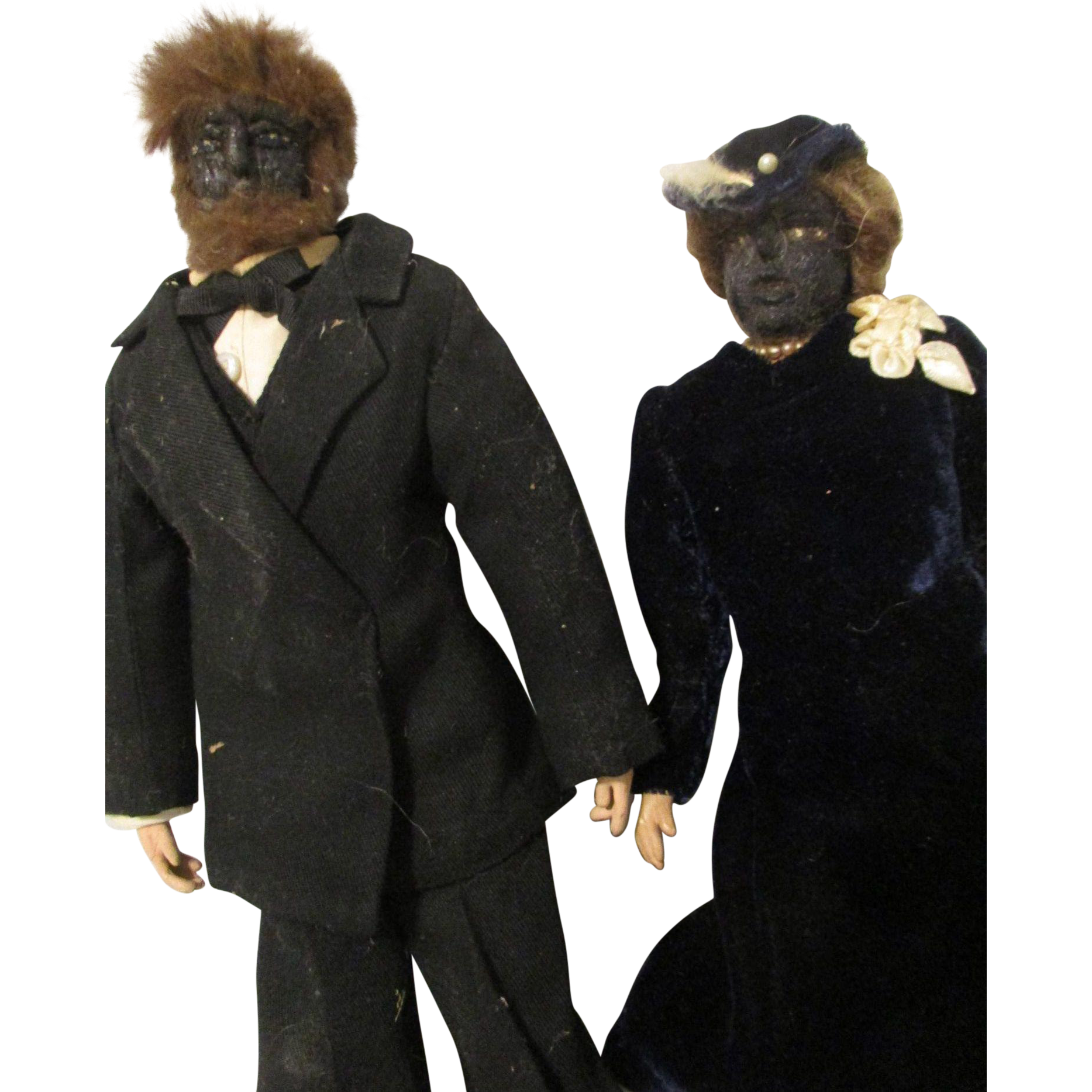Folk Art Apple Head Couple