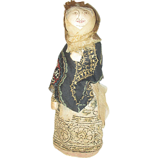"10"" Old Bottle Doll with Stitched Face Folk Art"