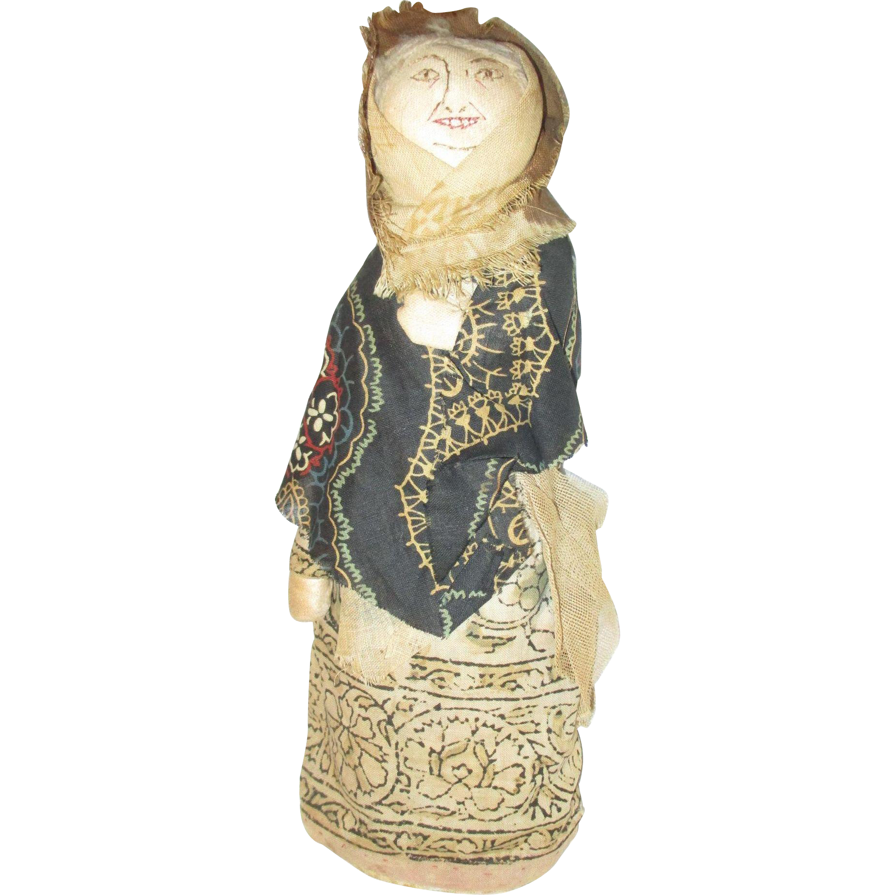 """10"""" Old Bottle Doll with Stitched Face Folk Art"""