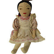 "23""  Cloth Doll 1956 Badger State Doll Club"