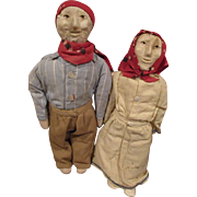 Unusual Folk Art Molded Face Dolls