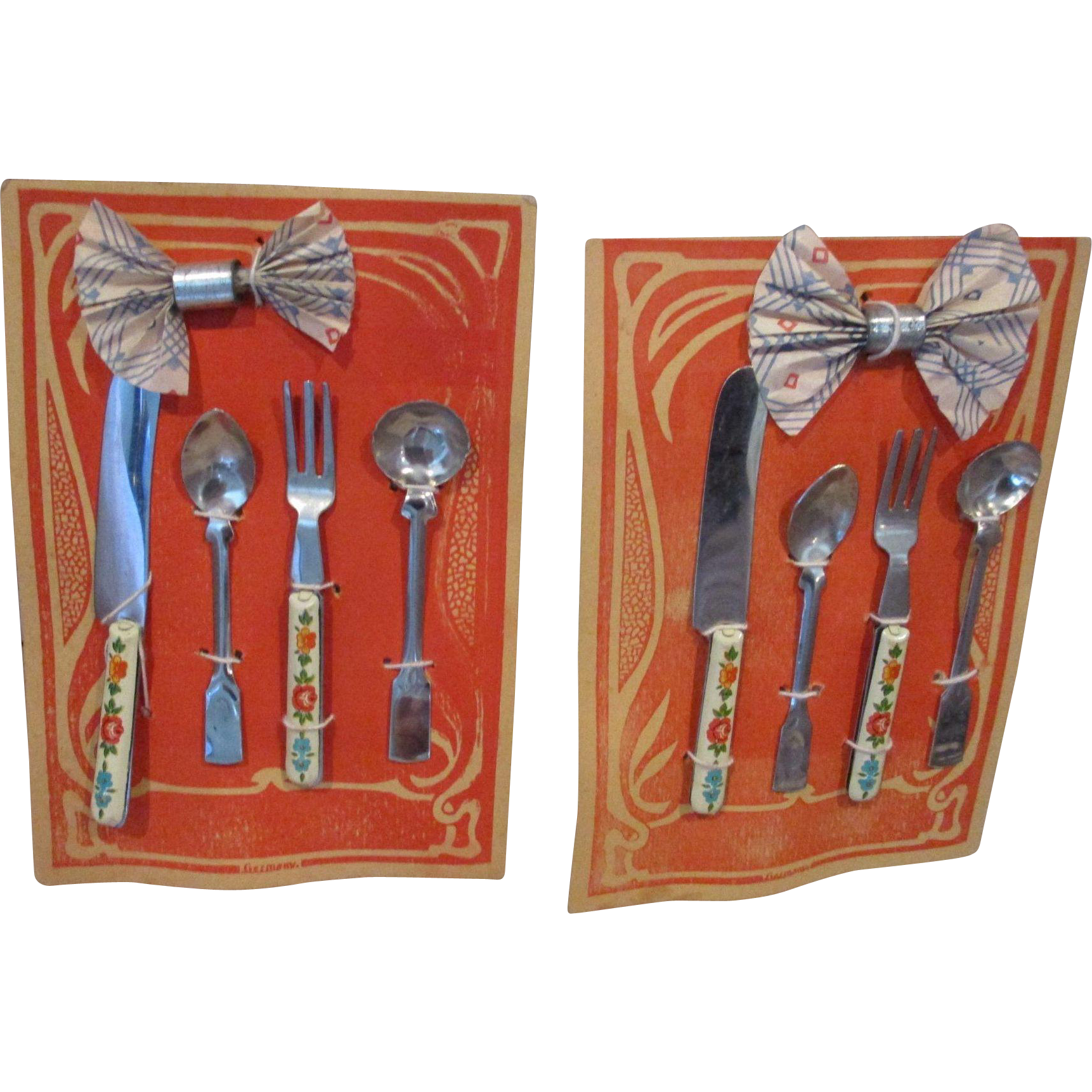 German Two Sets of Silverware on Card