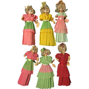 Folk Art 6 Crepe Paper Dolls 1940's