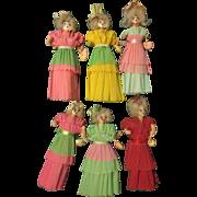 Folk Art 6 Crepe Paper Dolls 1940's