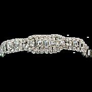 White Rhinestone Link Style Bracelet