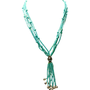 Sleeping Beauty Turquoise 5 Strand Heishi  Necklace