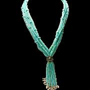 Sleeping Beauty Turquoise 5 Strand Heishi  Necklace