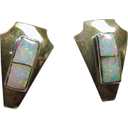 Arrow Shape Sterling Silver Earrings with Opal Inlay