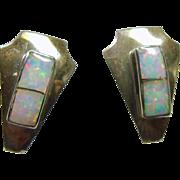 Arrow Shape Sterling Silver Earrings with Opal Inlay