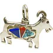 Sterling Silver Goat Figure Pendant with Stone on Metal Inlay