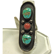 Turquoise and Red Coral Sterling Silver Southwestern Ring