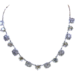 1920s-1930s White Filigree Necklace with White Crystals