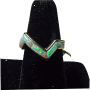 Sterling Zig Zag Sterling Ring with Opal Inlay