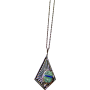 Sterling Silver and Turquoise Pendant on a Sterling Chain