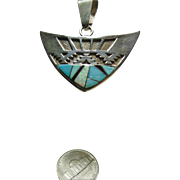 Sterling Silver Arrow Shape Pendant with Stone on Metal Inlay and Silver Overlay