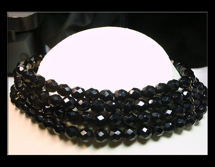 Vintage Black Bohemian Glass 4 Strand Collar Necklace