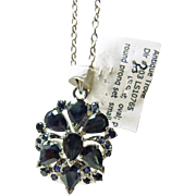 Sterling Silver Chain and Pendant with Dark Blue Sapphires