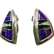 Sterling Silver Clip Earrings with Sugilite and Opal Inlay