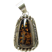 Southwestern Sterling Silver and Amber Pendant
