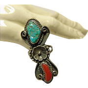 Elongated Sterling Silver Ring with Turquoise and Red Coral