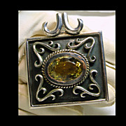 Sterling Silver Large Square Pendant with Oval Citrine