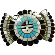 Sterling Silver Belt Buckle with Sunface Design in Stone on Metal Inlay by J. D. Massie