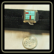 Sterling Silver Signet Style Ring with Turquoise and Coral Inlay