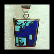 Sterling  Chain and  2 Sided Pendant with Lapis and Turquoise Inlay