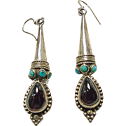 Etruscan Style Sterling Silver, Garnet and Turquoise Earrings