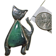 Sterling Silver Cat Pin/Pendant with Green Agate