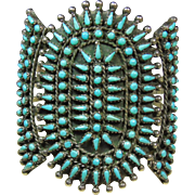 Stunning Sterling Cuff Bracelet with Petit Point Turquoise