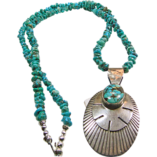 Turquoise Nugget Necklace with Sterling Silver and Turquoise Pendant
